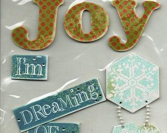Christmas Soft Spoken  Scrapbook Stickers Embellishments Cardmaking Crafts Me & My Big Ideas