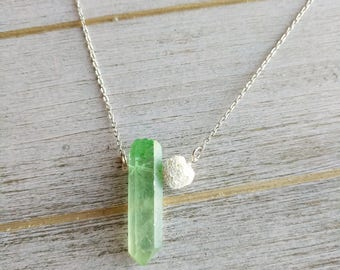 Mint Crystal point LAVA Diffuser Necklace, Diffuser Necklace, lava Necklace, gifts for her