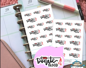 Blood Donation Hand Lettering Stickers - Planner Sticker (MM191)