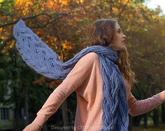Hand Knit Infinity Scarf, Chunky Wool Scarf, Oversized Knitting, Big Scarf, Long Scarf, Handmade Scarf, Knit Scarf Woman, Hand Knit Scarf
