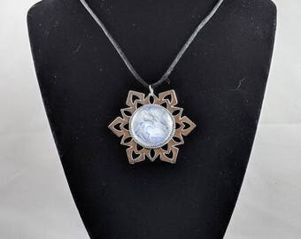 Snowflake Pendant - Purple, Silver & White