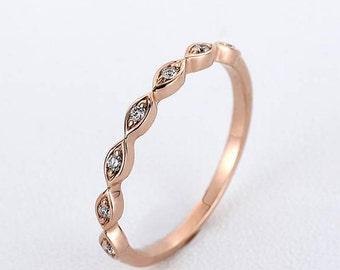 Rose Gold wedding band women Art deco diamond ring vintage Marquise Minimalist Half eternity band Bridal antique dainty Stacking Promise