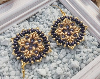 Gold and purple earrings, rhombus earrings, gold beads, earrings for her, women's earrings, gold earrings, gold, purple, Valentine's Day