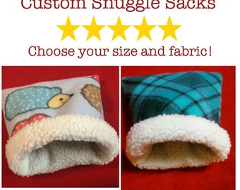 Custom Critter Snuggle Sack for Guinea Pigs, Hedgehogs, Rats, Ferrets, and other Small Pets, Burrow Bag,  Snuggle Sack, Fleece Bedding