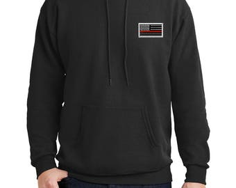 Embroidered Red Line Flag Pull Over Hoodie