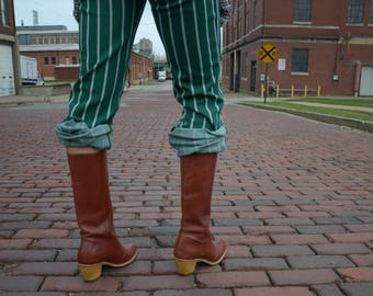 70s Vintage Burnt Orange Leather Boots, Genuine Wood N Leather Wolverine Cowgirl Boots