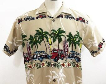 70s Polyester Shirt Surfer Shirt / Beach Scene Graphic Shirt / Palm Trees Surfboards Classic Woodies Pipe Line Pipline Shirt /  Men's Medium