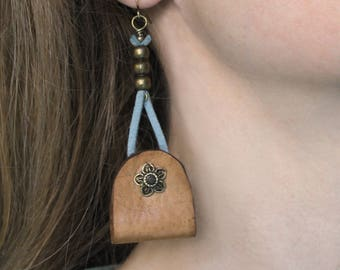 Long leather earrings • rustic • flower pattern • blue • Brown jewelry ethnic jewelry designer jewelry Bohemian • • • handcrafted Bronze