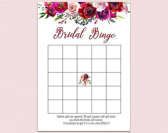FLORAL BRIDAL BINGO, Bridal Bingo cards, bridal shower games printable, Bachelorette Bingo, Red Floral Wedding Shower games, Retro pdf B10