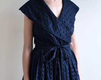 LIZ CLAIBORNE navy eyelet wrap dress / sailor dress / us8