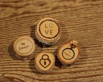 Lovers Magnet Set--Set of 4 Wood Burned Magnets