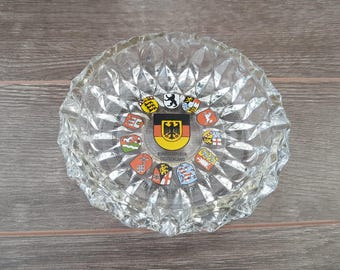 Vintage Germany Deutschland Cut Glass Souvenir Ashtray Trip Vacation Cigarette Smoking Break Gift for Smoker Collectible Holiday Round Thick