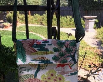 Vintage bark cloth purse, chinoiserie bark cloth purse, Asian Toile bark cloth, vintage bark cloth, up cycled purse, vintage up cycled bag