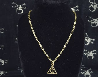 Super cute and dainty deathly hallows necklace in antique bronze