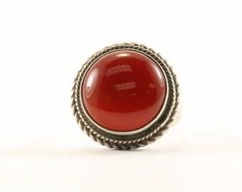 Vintage Round Carnelian Stone Ring 925 Sterling RG 2464