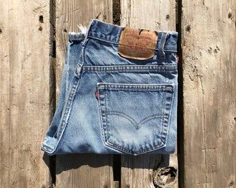 """Levi's 517 33"""" Medium Wash Vintage High Waist Red Tab Boyfriend Jeans"""