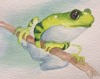 ORIGINAL frog watercolour painting