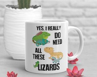 Lizard Coffee Mug, Cute Bearded Dragon Gift, Reptile Lover, Funny Leopard Gecko Mug, Gift for Her Him Housewarming Birthday Iguana Chameleon