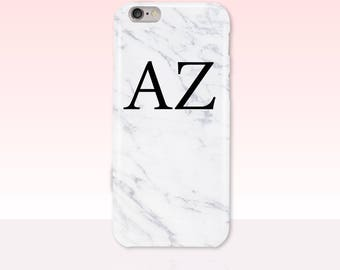 White Marble Custom Initials Phone Case -  iPhone 7/7 Plus, iPhone 6 Plus/6S Plus, iPhone 5/5S, iPhone SE, Samsung Galaxy S7, S6, S5, S4