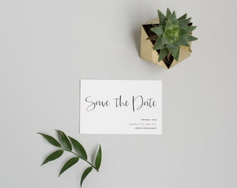 Printable  Black and White Save the Date card - Modern Minimal Save the Date - Printable PDF Template
