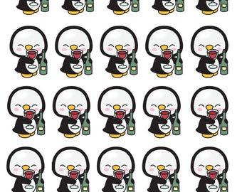 Penguin Wine Lover - All Planer Sizes - Erin Condren, Happy Planner, Recollections, Paper Plum, TN