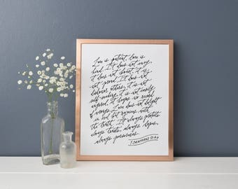 "1 Corinthians 13:4-7 Love is Patient Love is Kind // 8x10"" or 9x12"" Calligraphy Print"