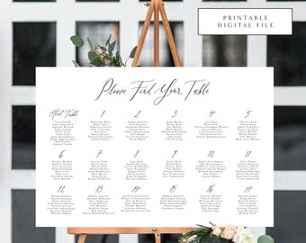 Rustic Calligraphy Seating Chart / Table Assignment Chart - Printable DIGITAL Design File