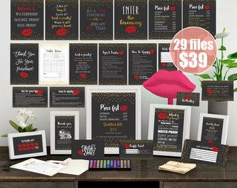 LipSense Business Cards, Lipsense Bundle Pack, Lipsense Marketing Kit, Lipsense Cards Bundle,Marketing Set, Gold Confetti, Red Lips, Black