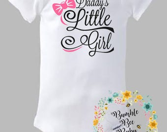 Daddy's Little Girl, Onesie or Tee ... Comes With Custom  Hair Bow to Match