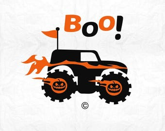 monster truck pumpkin boo SVG Clipart Cut Files Silhouette Cameo Svg for Cricut and Vinyl File cutting Digital cuts file DXF Png Pdf Eps