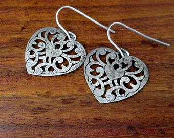 Sterling Silver Elegant Heart Earrings - Vintage