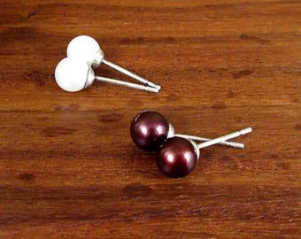 2 x Sterling Silver Faux Pearl Earring Studs - Vintage
