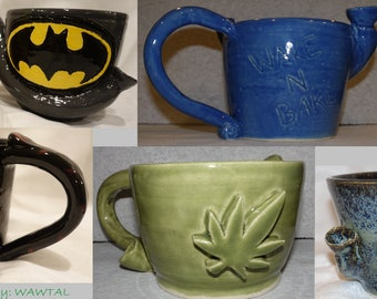 Wake 'n Bake Pipe and Coffee Mugs/ Tea Cup Smoke and Drink Your Breakfast Mornings Are Hard- Made to Order Custom and Ready to Ship