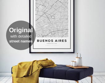 Buenos Aires Map Print, Argentina Map Print, City Map Print, Buenos Aires, Argentina Map Wall Art, Black and White Map, Modern Home Decor