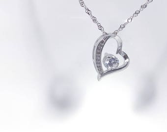 Zircon Love Necklace in Solid Sterling copper plating sliver (SN011)