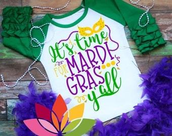 Mardi Gras SVG, DXF, Its Time for Mardi Gras Yall, Beads, Fat Tuesday, Mardi Gras Parade shirt cut file design, silhouette cameo, cricut