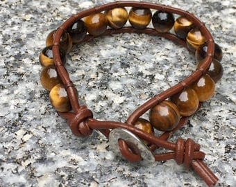 Kids Wrap Bracelet, Tiger Eye Wrap Bracelet, Leather Wrap Bracelet, Beaded Wrap Bracelet, Beaded Bracelet, Leather Wrap, YoungBeadsCrafts