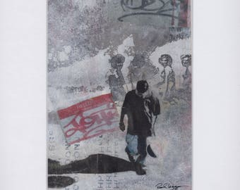collage,painting,urban art,contemporary art,handmade,graffiti,photography,gray,red,shadow,people,wedding gift,wall decor,house warming gift,