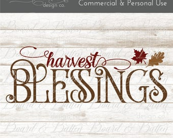 Harvest Svg File - Autumn Svg Files - Harvest Blessings Svg Cut File - Fall Svg Files for Cricut - Fall Harvest Cut File - Fall Dxf Files
