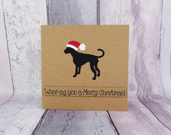 Great Dane handmade Christmas card, Great Dane wearing a Santa Hat pun card, Father Christmas Hat, Santa Claus hat, Dog lover, Kraft card