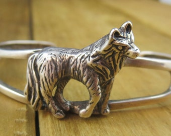 "Vintage Wolf Bangle Bracelet Sterling Silver 6.5"" Wrist Signed OTT 18.8 Grams"