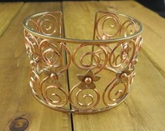 """Vintage Gold Plated Cuff Bracelet Vintage 7"""" Wrist 27.8 Grams"""