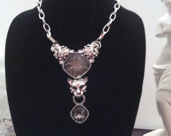 Dramatic Statement Necklace Leopard Heads w/Rhinestones Silver with Clear Grey Stones,