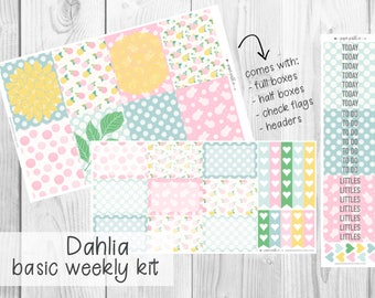 BASIC WEEKLY KIT // Dahlia for Erin Condren Life Planner™, Classic Happy Planner