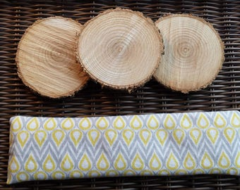 Soothing bag for Migraine / headache, heating pad, cold, cotton, yellow, gray