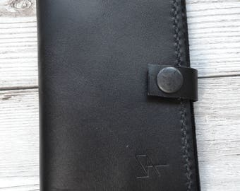 Leather Card Holder / Hand stitched bifold leather wallet with pocket on the back. Hand made in London
