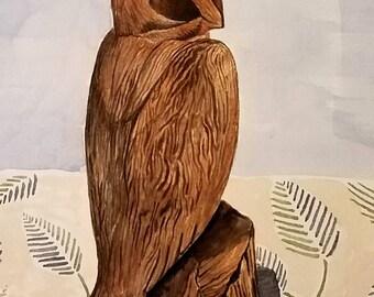 Original 8 x 10 Owl Watercolor