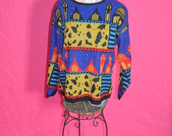 Vintage Abstract City Scape Picture Pullover Sweater - Size Large