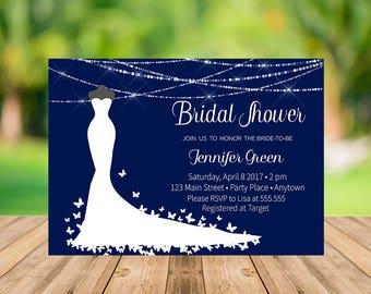 Navy Bridal Shower Invitation Printable, Instant Download, Elegant Bridal Shower Invitation, Modern Bridal Shower Invitation, Blue and White