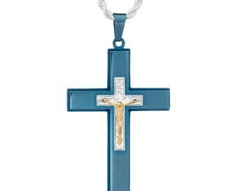 """Blue-Tone Cross with Gold-Tone Diamond Cut Jesus Crucifix Necklace Pendant in Stainless Steel, 18""""- 24"""" Chain"""